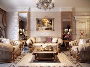 Phòng khách với thiết kế cố điển - mẫu 5