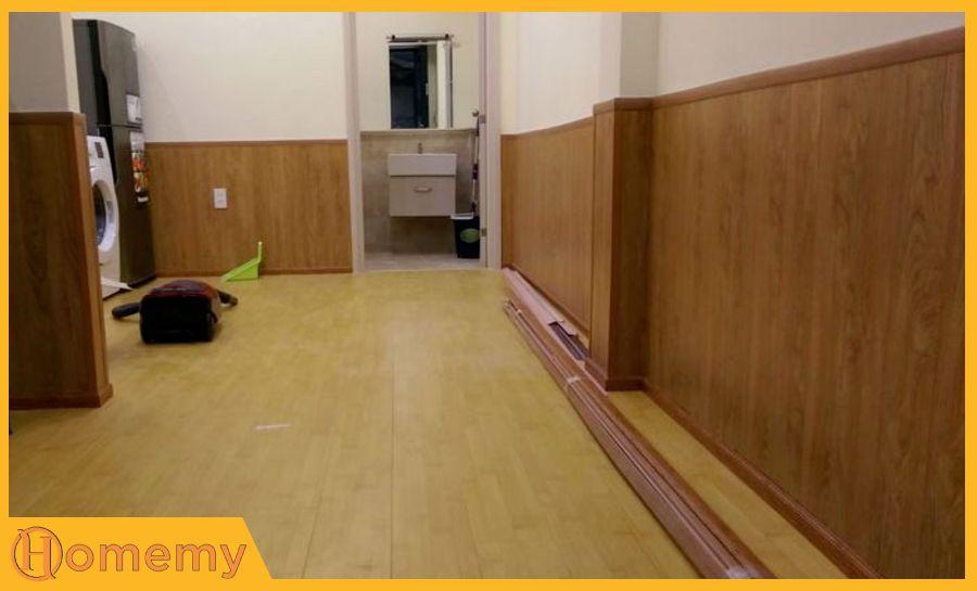 sàn nhựa vân gỗ ốp tường