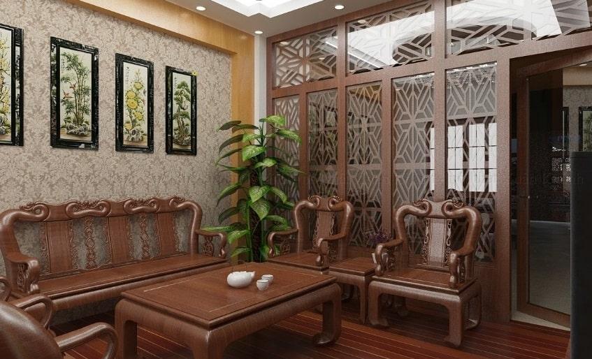 Trang trí phòng khách với bộ bàn ghế hoàn toàn bằng gỗ
