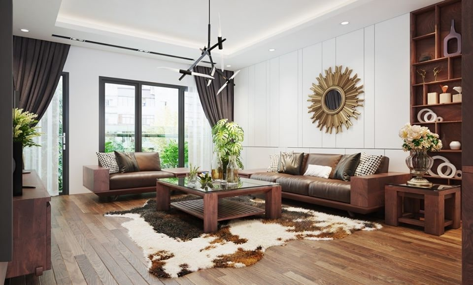 trang trí phòng khách bằng đồ gỗ