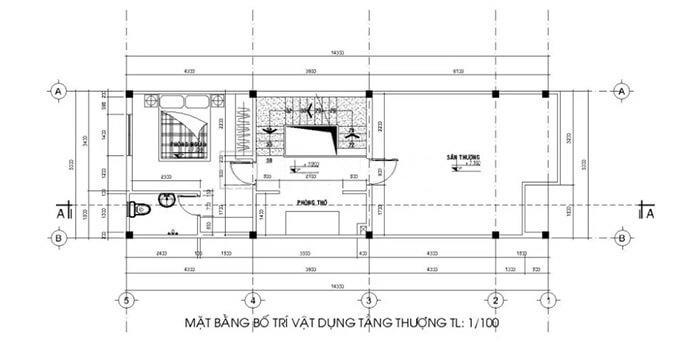 nhà 2 tầng 3 phòng ngủ 5x15
