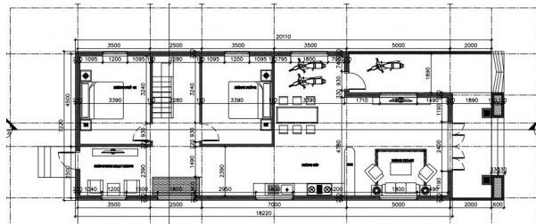 Bản vẽ tầng trệt nhà cấp 4 ngang 7x20m mái thái