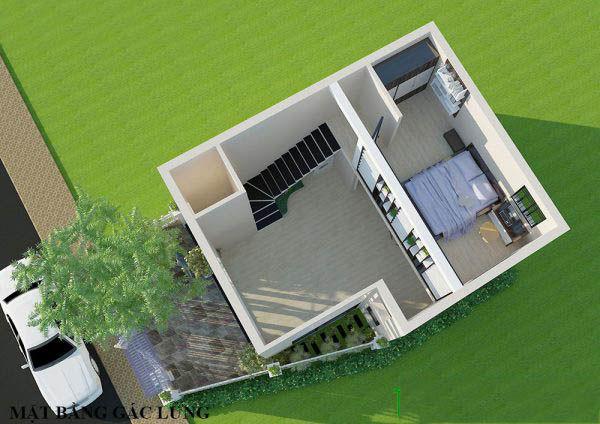 Mẫu nhà cấp 4 gác lửng mái bằng 1 phòng ngủ