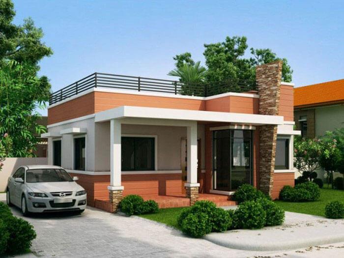 Nhà mái bằng 1 tầng diện tích 80m2 ấm áp