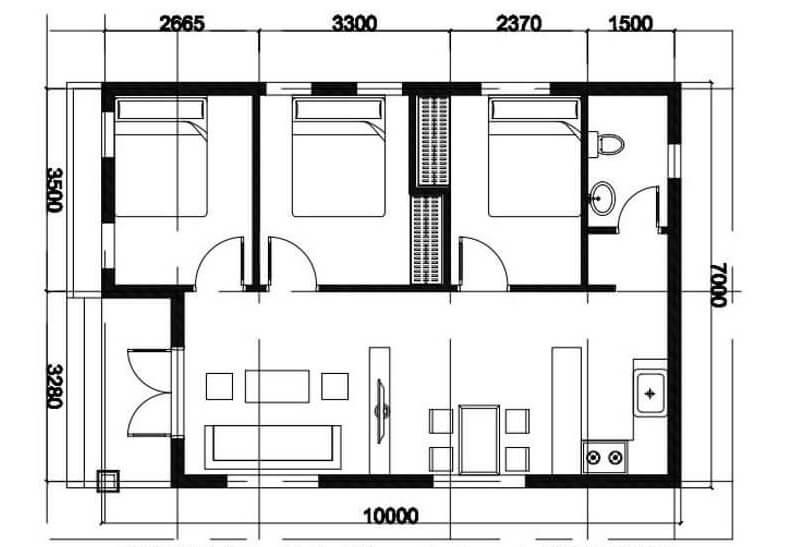 Nhà cấp 4 3 phòng ngủ 300 triệu