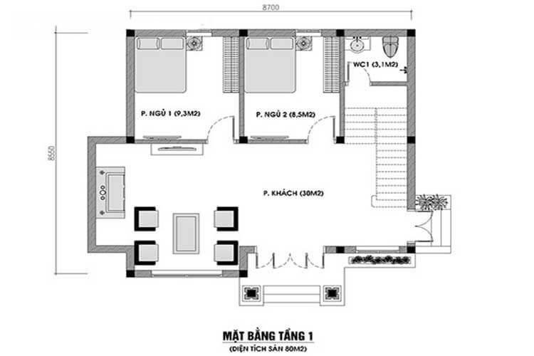Bản vẽ tầng 1 nhà 1,5 tầng giả biệt thự