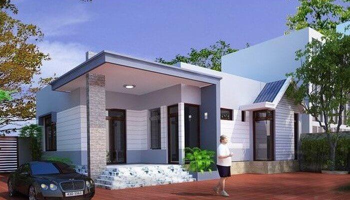 Mẫu nhà mái bằng hiện đại tông xanh xám