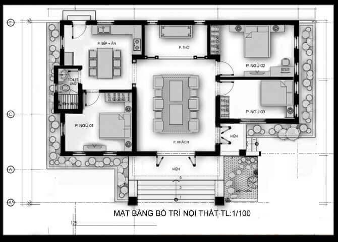 Nhà cấp 4 có phòng thờ sau phòng khách