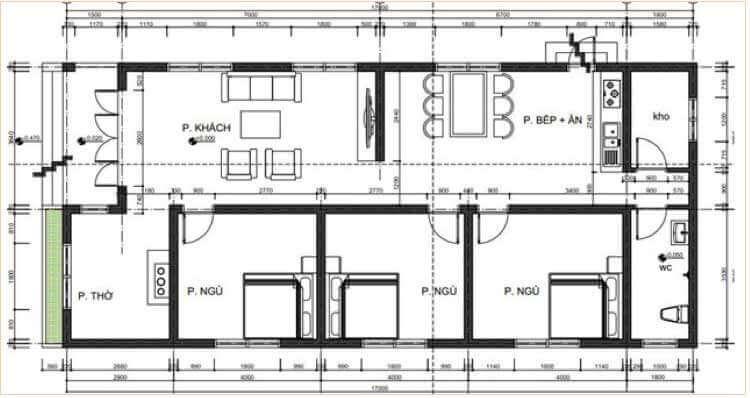 Nhà cấp 4 136m2 3 phòng ngủ 1 phòng thờ