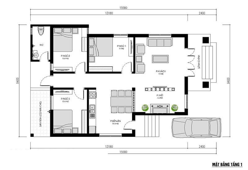 Nhà cấp 4 3 phòng ngủ 15,5x9,4m