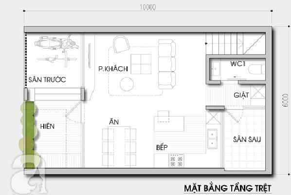 Bản vẽ tầng 1 thiết kế nhà 60m2 2 tầng 600 triệu