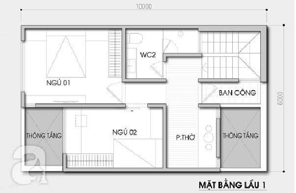 Bản vẽ tầng 2 thiết kế nhà 60m2 2 tầng 600 triệu