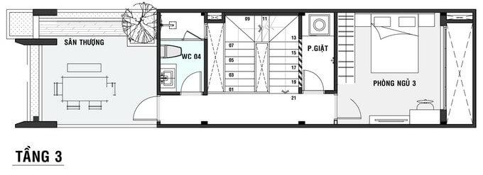 Bản vẽ tầng 3 nhà 60m2 3 tầng 3 phòng ngủ 1.2 tỷ