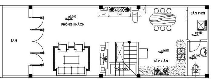 Bản vẽ tầng 1 mẫu nhà cấp 4 4x12 hiện đại
