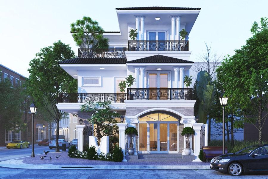 Mẫu nhà đẹp 3 tầng hình chữ L