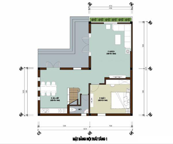 Tầng 1 Thiết kế nhà hiện đại