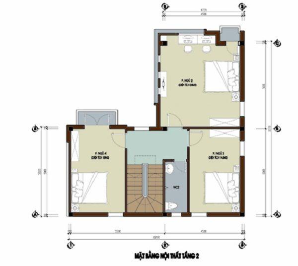 Tầng 2 Thiết kế nhà 3 tầng 8x10m hiện đại