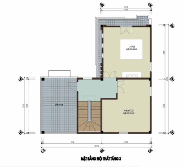Tầng 3 Thiết kế nhà 3 tầng hiện đại