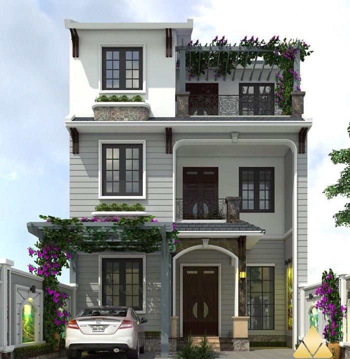 Thiết kế nhà 3 tầng 8x10m