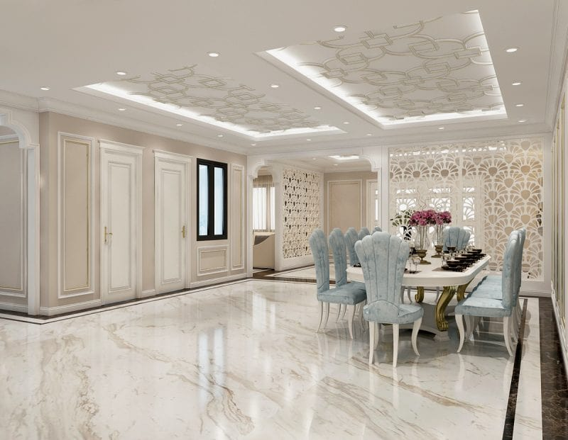 Mẫu thiết kế nội thất phòng bếp biệt thự đẹp 2021