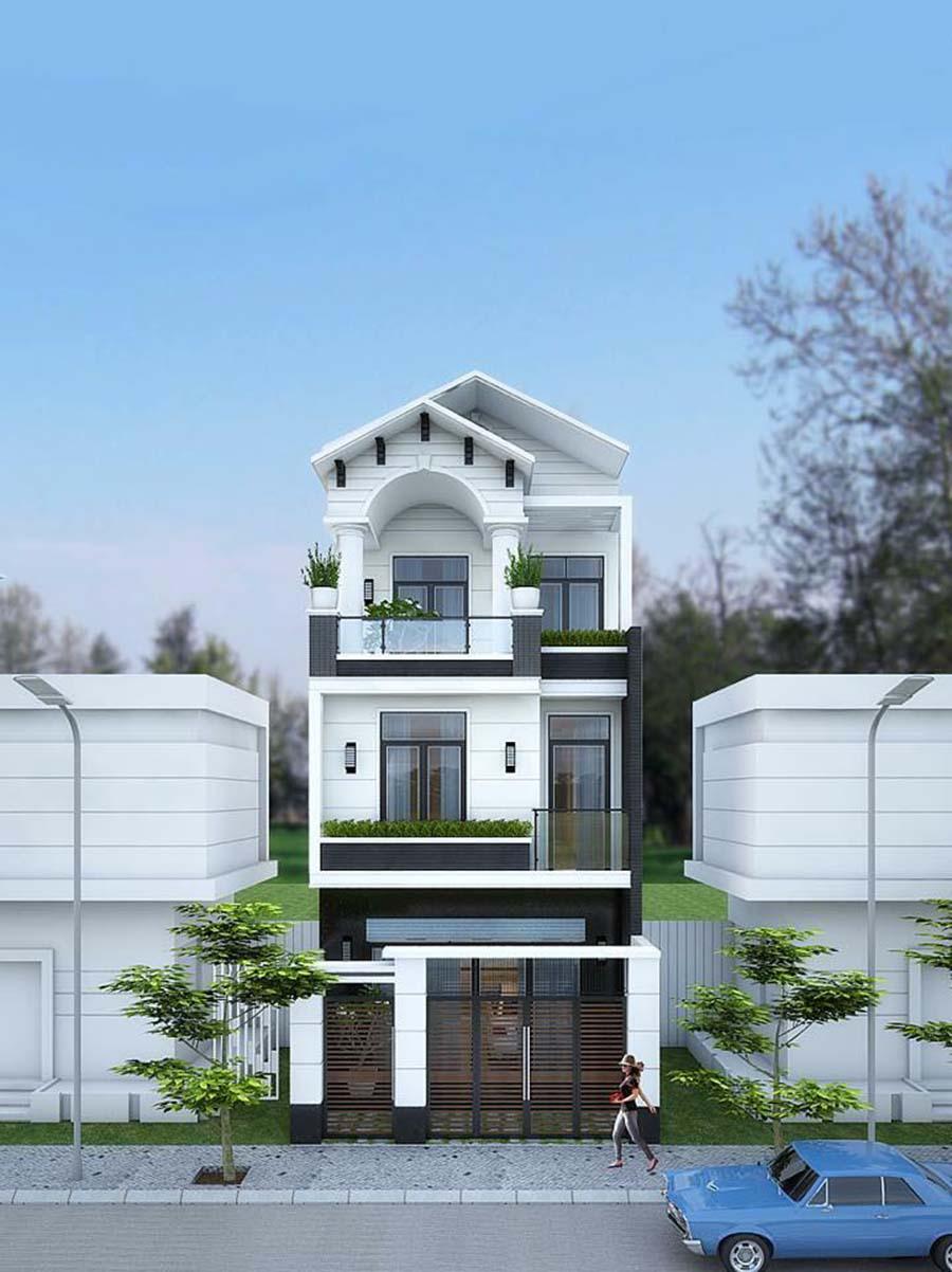 Nhà 3 tầng mái thái hiện đại 75m2