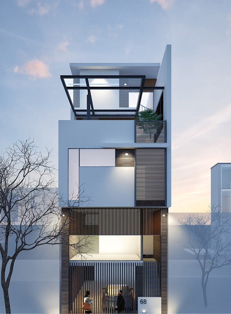 Mẫu nhà 4 tầng 100m2 thiết kế hiện đại sang trọng