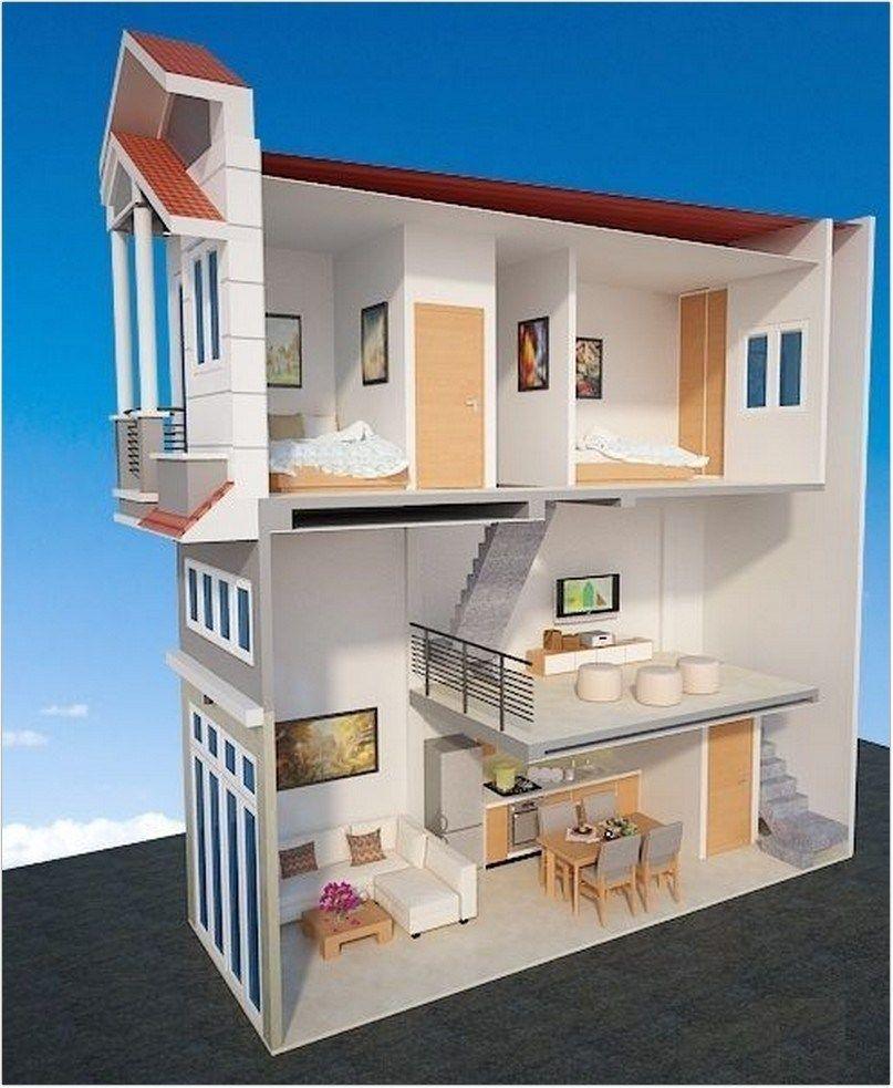 Bố trí không gian bên trong của một căn nhà 2 tầng