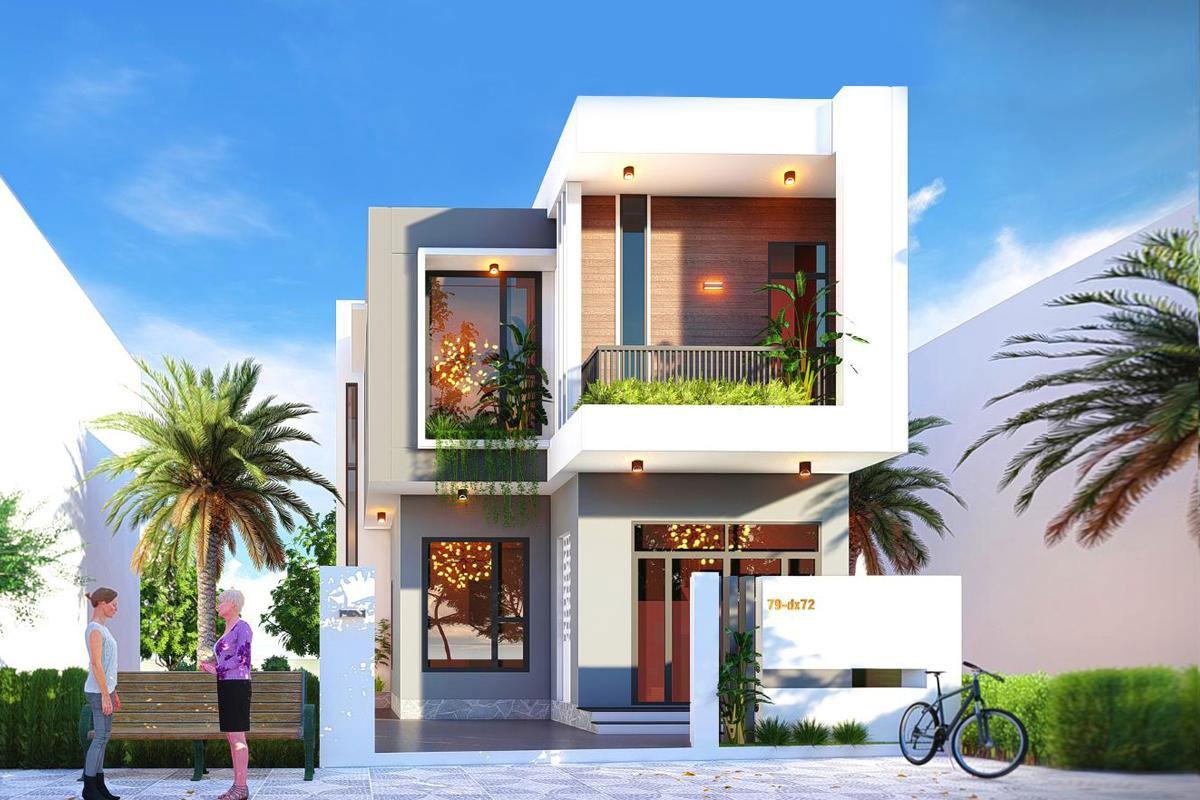 Nhà 2 tầng mái bằng với thiết kế hiện đại, trẻ trung