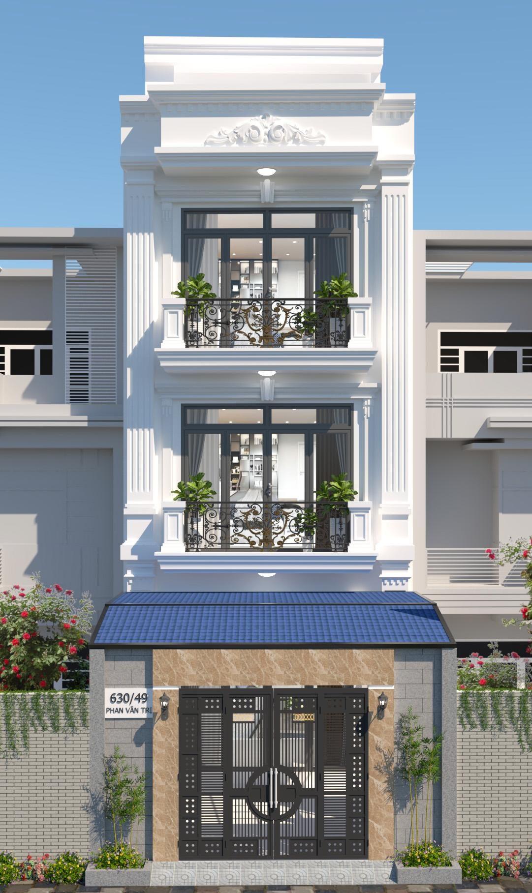 Nhà 3 tầng thiết kế với những đường nét sang trọng như những căn biệt thự