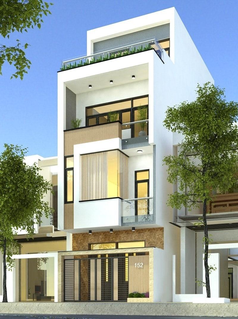 Mẫu nhà 3 tầng có tầng lửng với thiết kế hiện đại ấn tượng, bắt mắt.